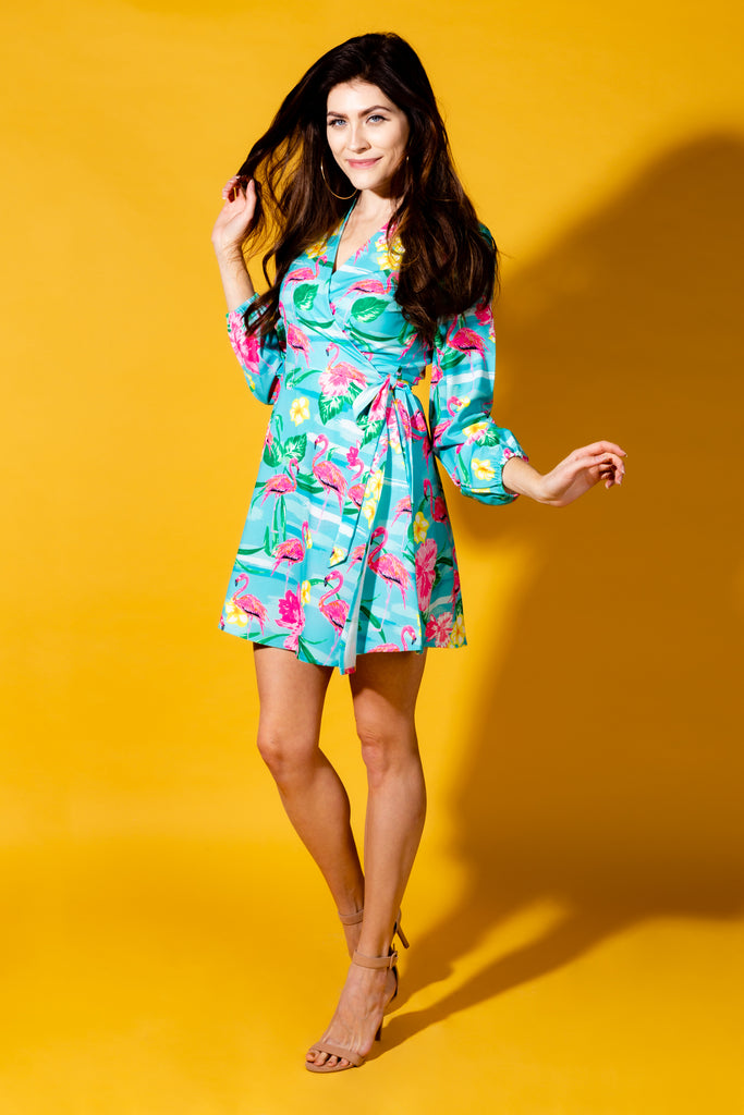 The Fort Lauderdale Vice | Flamingo Tropical Wrap Dress