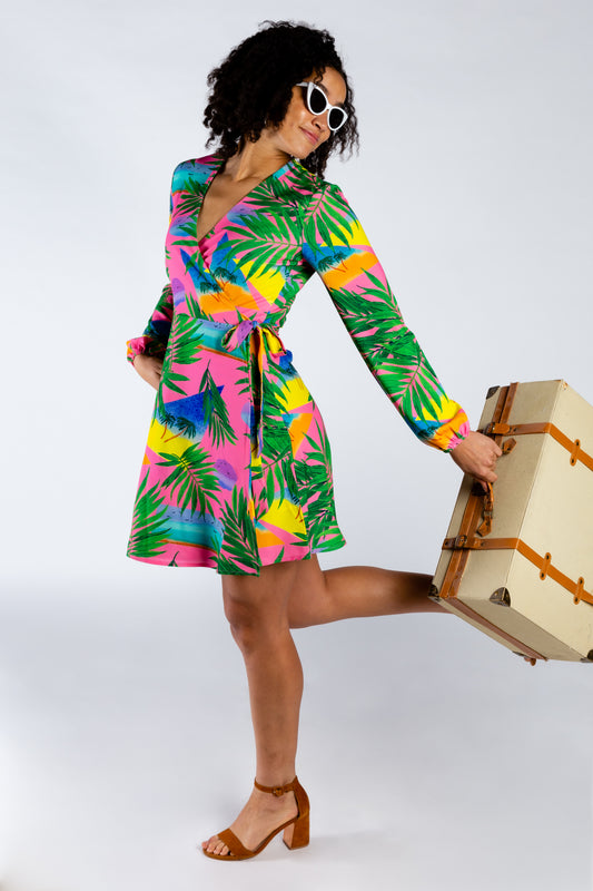 Palm tree wrap dress for women