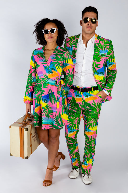 couple's matching tropical outfits