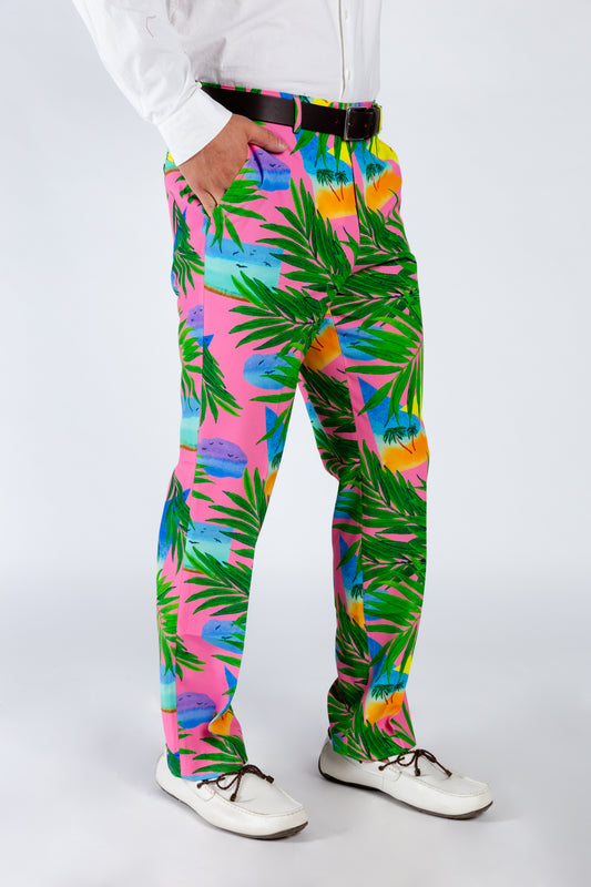 Men's Pink Palm Tree Suit Pants