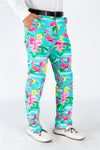 Men's Blue Flamingo Print Suit Pants