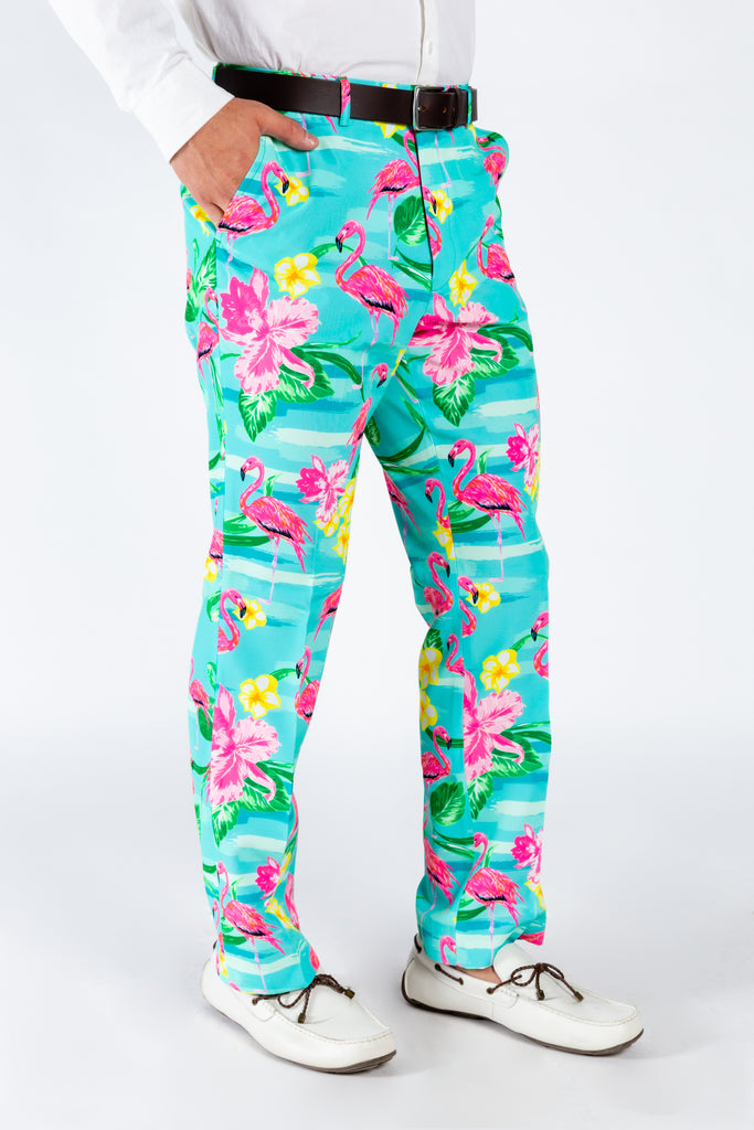 The Fort Lauderdale Vice | Tropical Flamingo Pattern Suit Pants