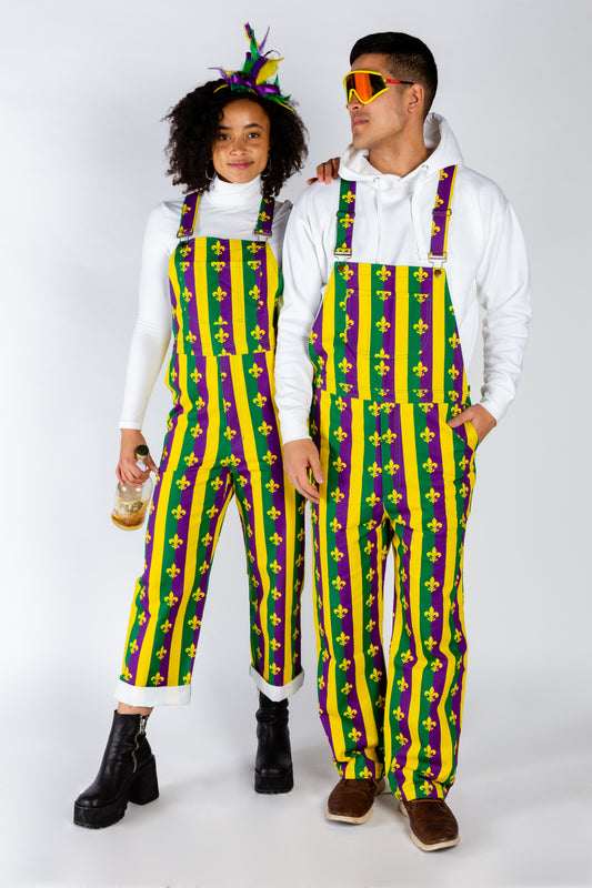 Couples matching overalls for mardi gras