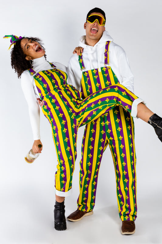 Couple's matching mardi gras overalls
