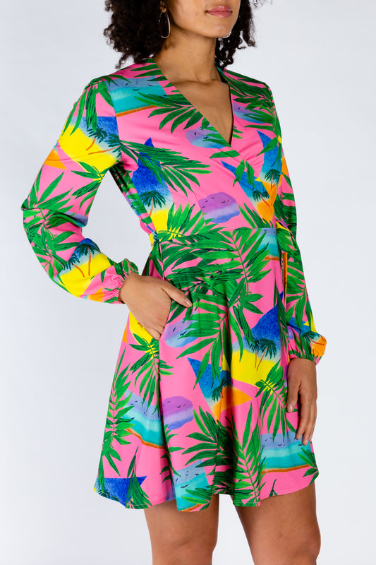 Ladies colorful tropical dress