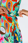 Bright colored fruit printed dress