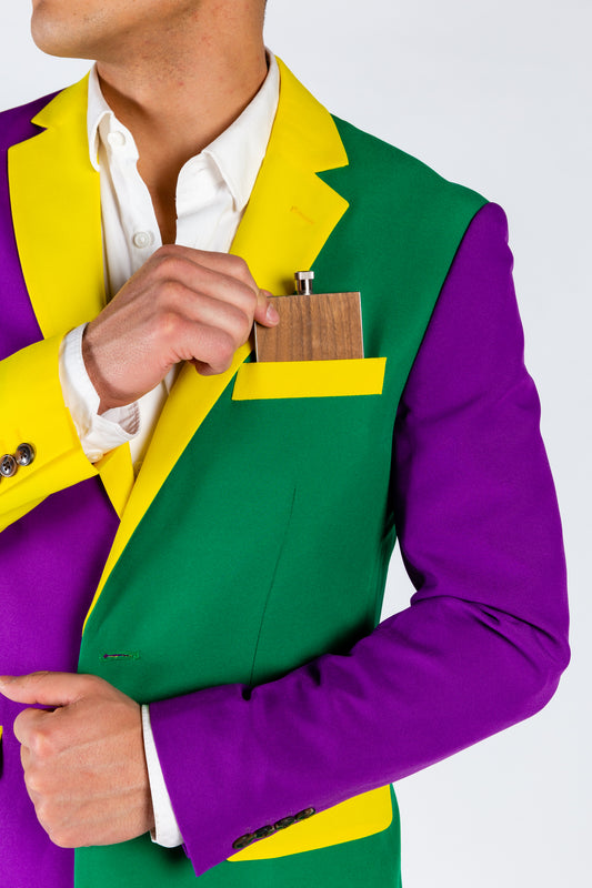 Purple Yellow Green Solid Suit
