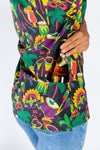 Ladies Mardi Gras button up party shirt