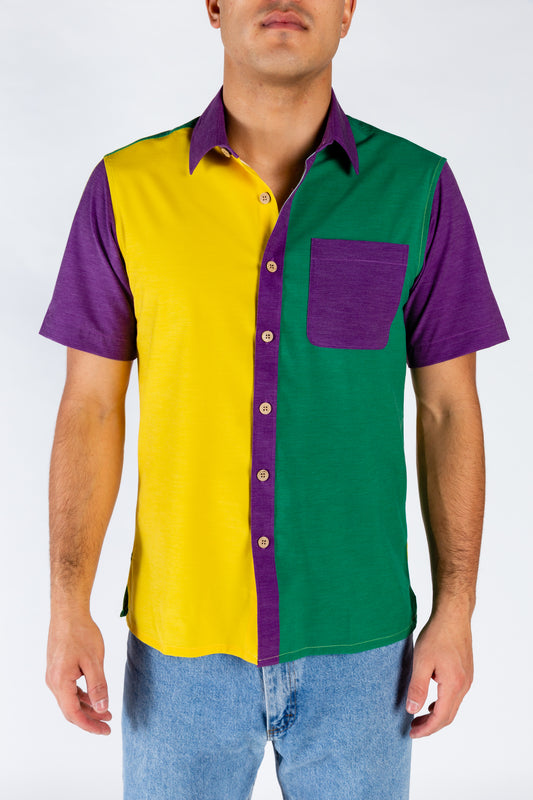 Mardi Gras color blocked button up