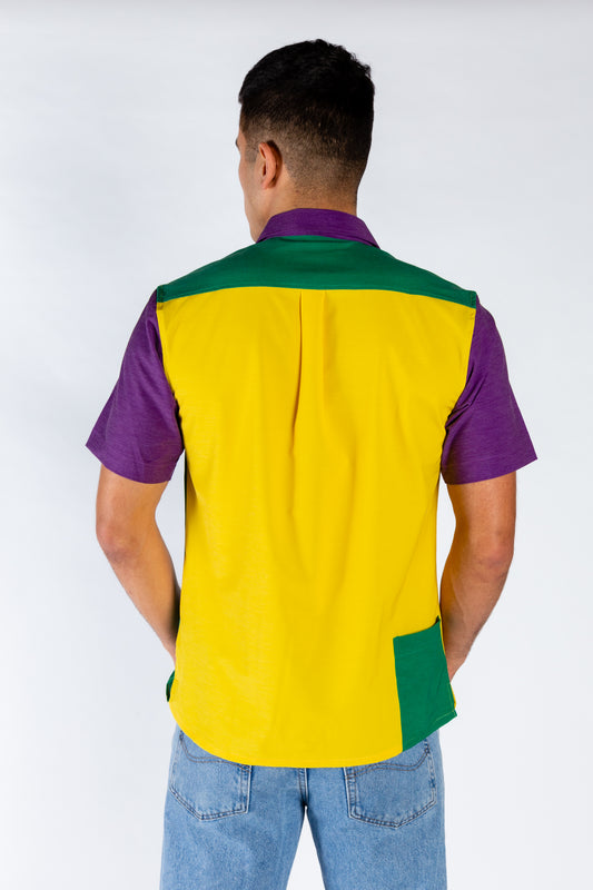 Men's color blocked Mardi Gras shirt