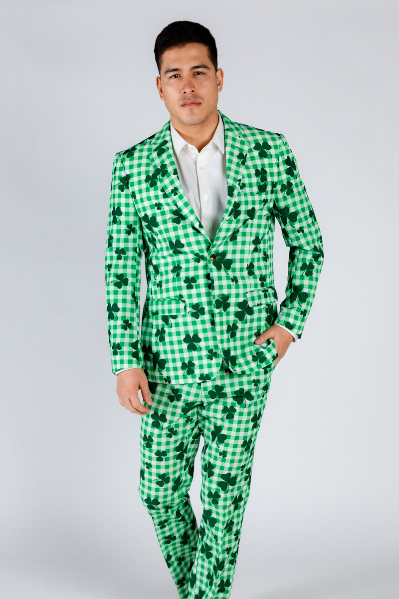 Men's Green Checkered Suit Jacket