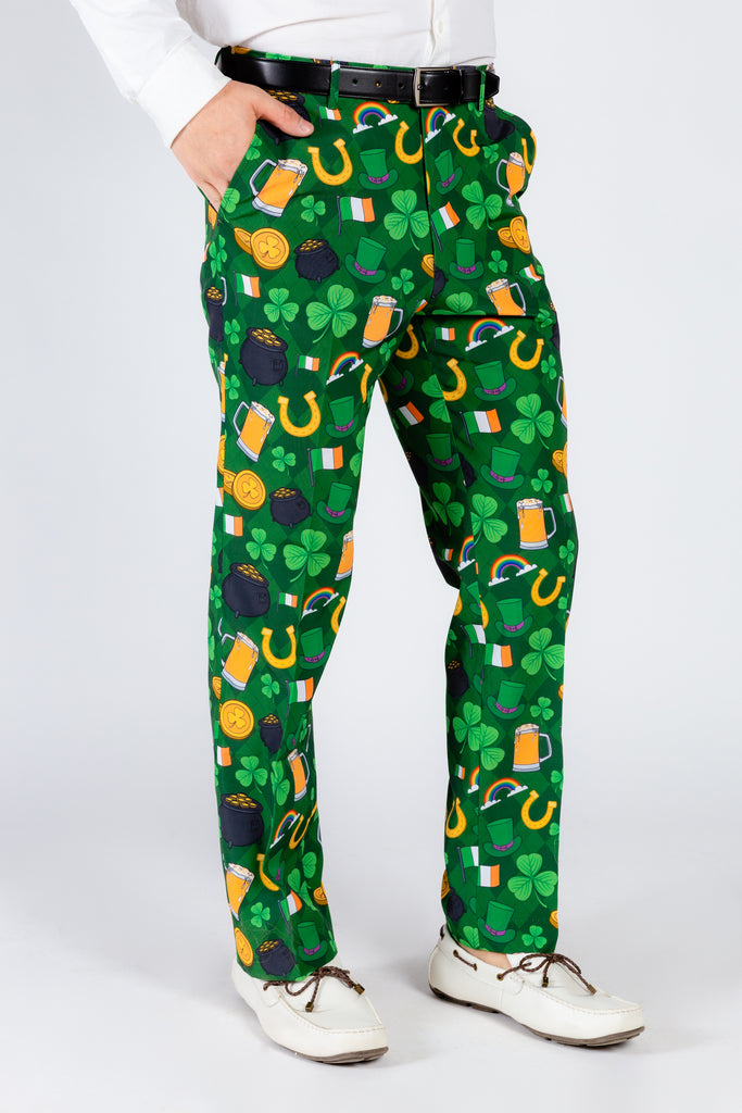 St. Pat's Gluttony | Green Irish Pattern Suit Pants