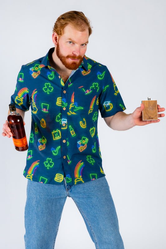St. Patrick's Day Neon Hawaiian Shirt