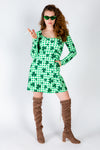 Ladies green printed st. pat's dress