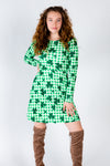 Shamrock print women's dress