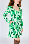 Green shamrock dress for ladies