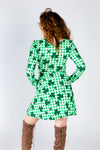 gingham printed green dress for ladies