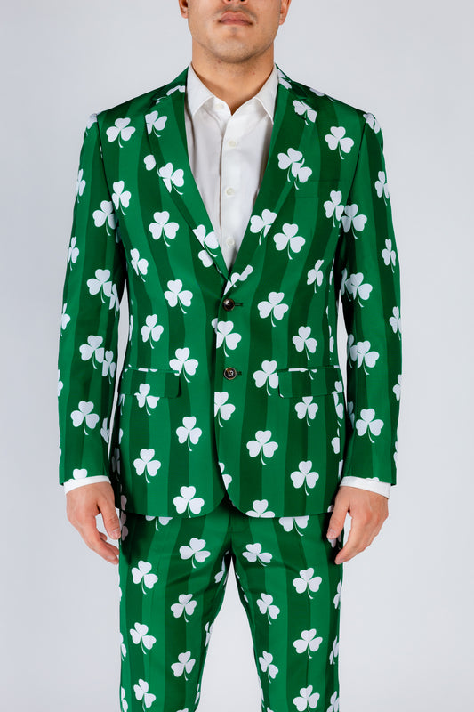 Green and White Clover Print Suit