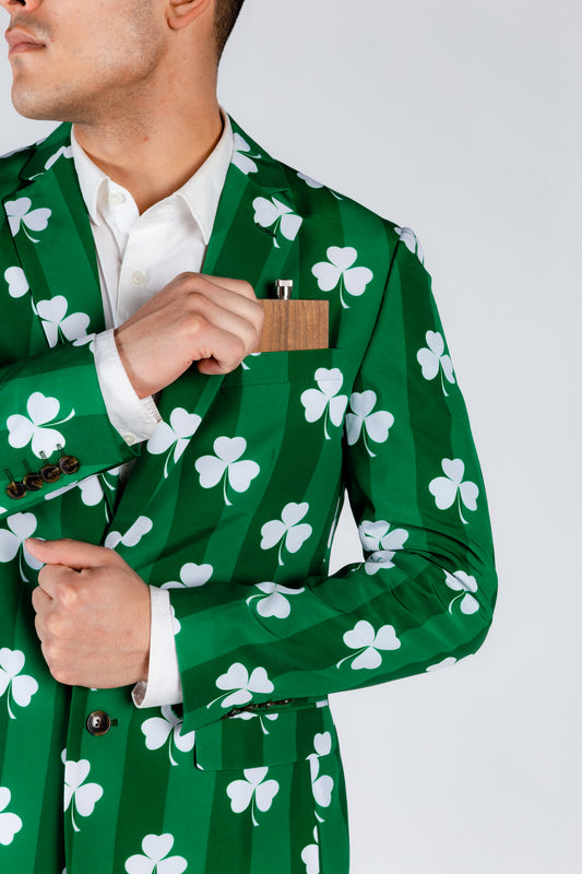 Green Suit Jacket with White Clovers