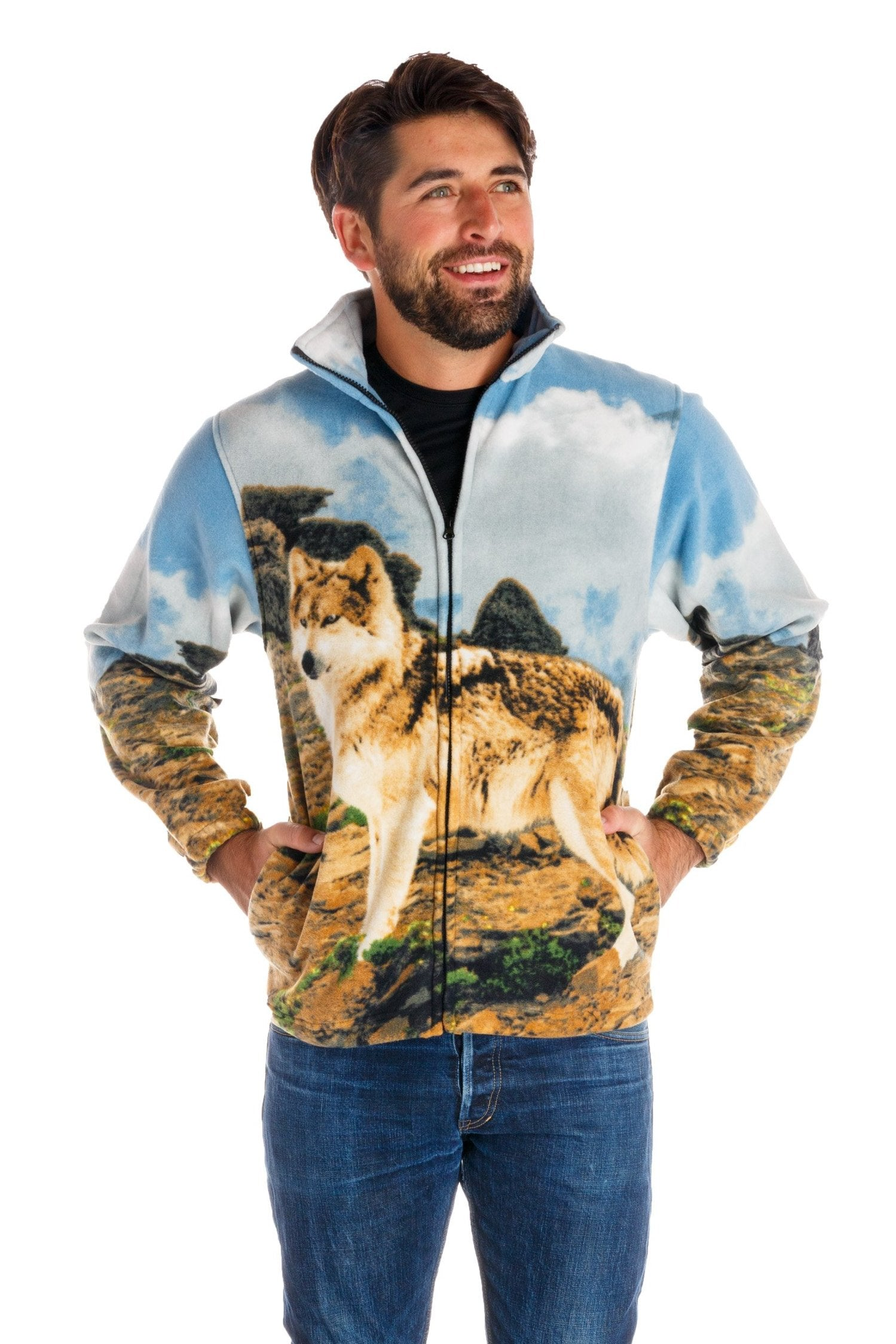 Wolf Print Fleece Jacket The One Man Wolf Pack