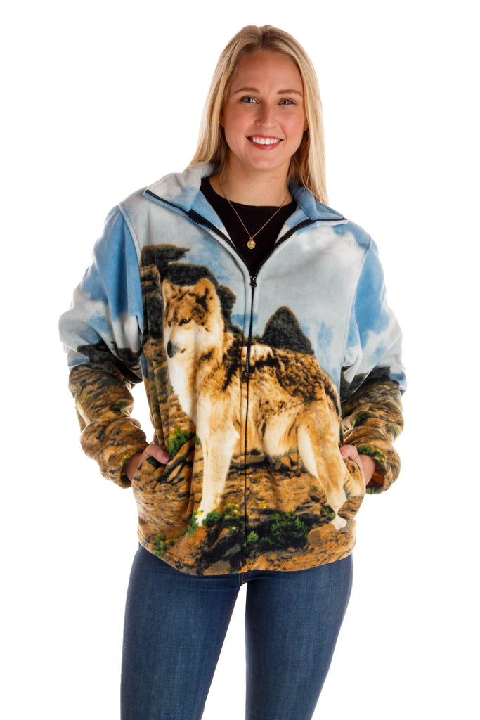 The One Women Wolf Pack | Ladies Wolf Animal Print Fleece Jacket