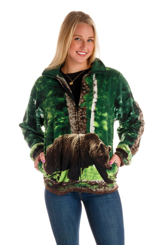 Bear It All | Ladies Bear Animal Print Fleece Jackets