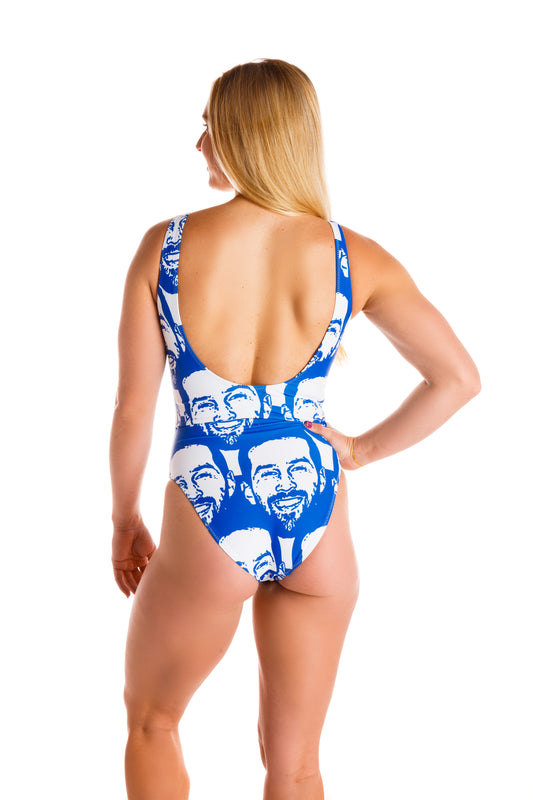 white womens one piece with faces