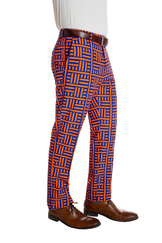 orange and blue maze pants