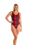 red and black checkered bodysuit