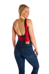 black and red checkered womens one piece