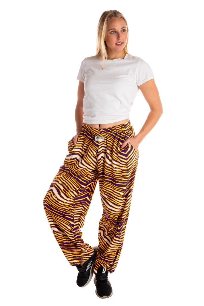 The Hot Yoga Hammers | Ladies Purple And Gold Zubaz Hammer Pants