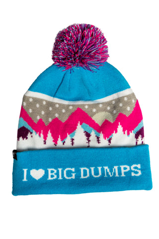 blue and pink 80's neon ski beanie