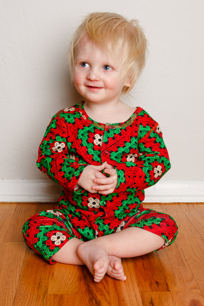 The Quilty Pleasure | Baby Unisex Red And Green Quilted Christmas Pajamas