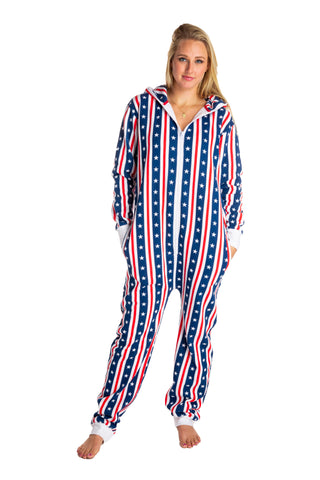 red white and blue adult onesie