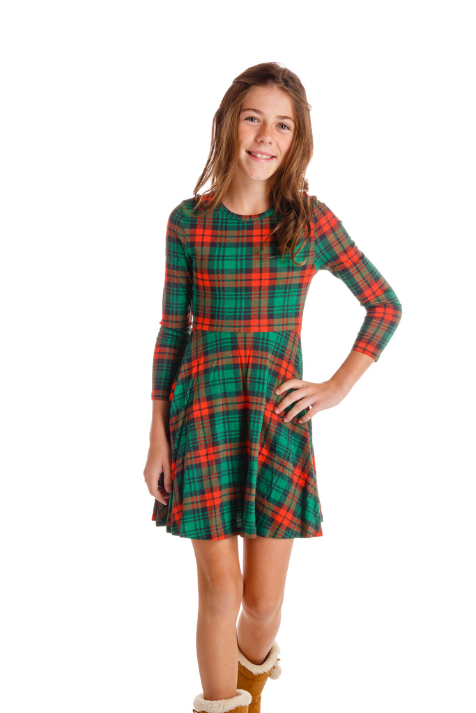 The Little Lincoln Lady | Girls Red Plaid Christmas Dress