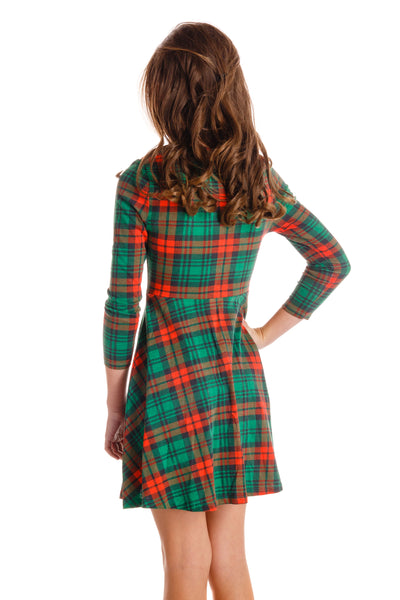 Girls Red and Green Plaid Holiday Dress