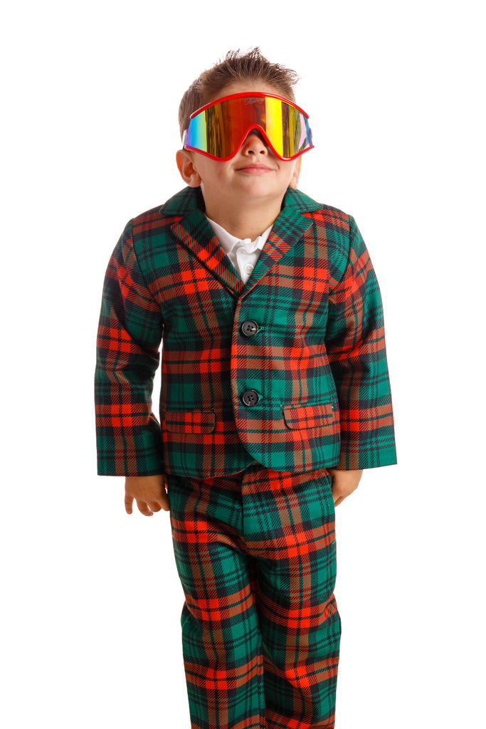 The Lincoln Log Little Man | Red Plaid Toddler Christmas Blazer