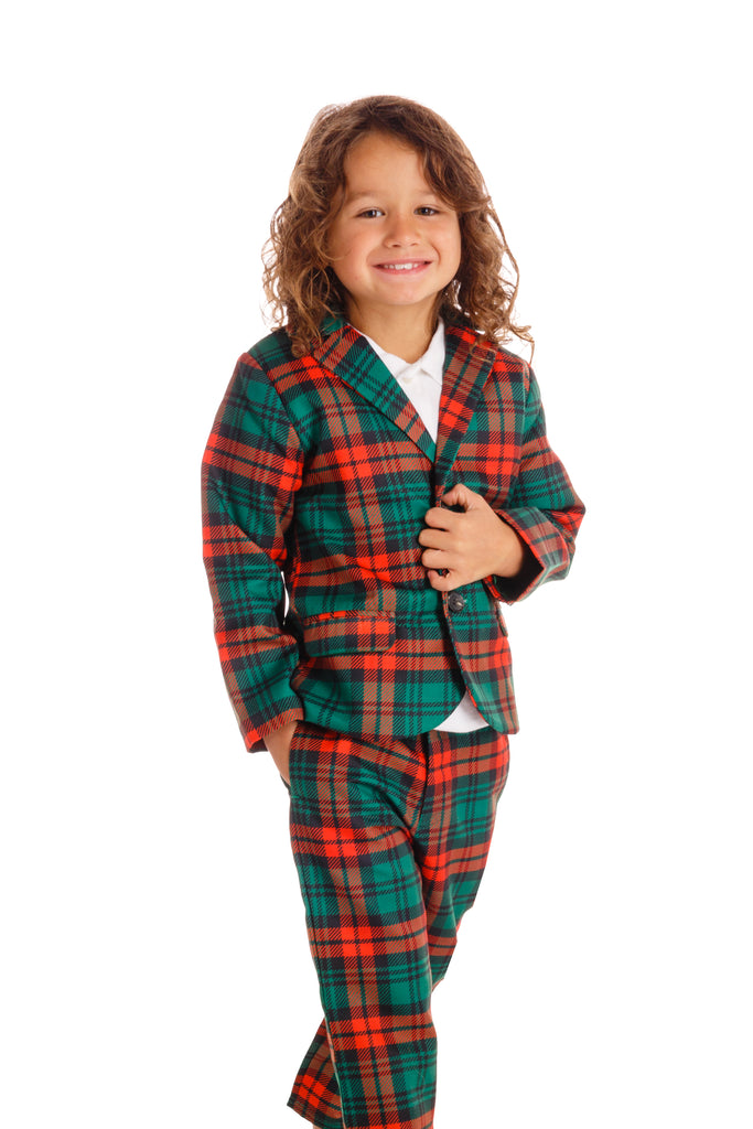 The Lincoln Log Little Man | Red Plaid Boys Christmas Suit