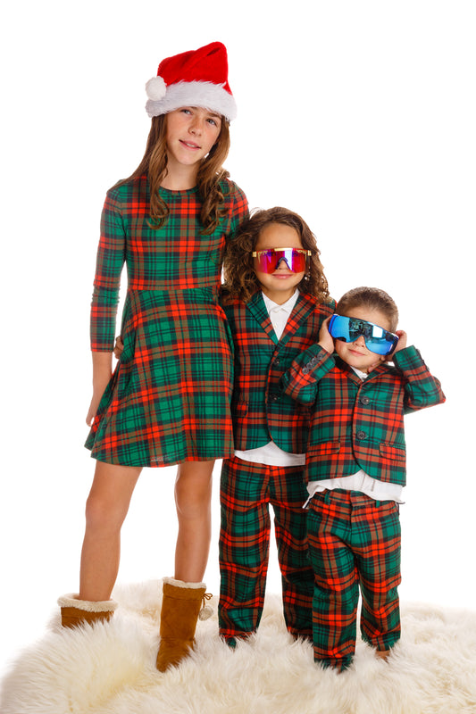 Matching Family Christmas Outfits.The Lincoln Log Little Man Red Green Plaid Boys Christmas Suit