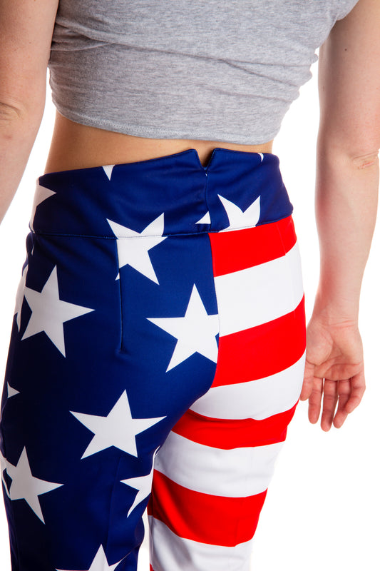 Red white and blue USA ski pants
