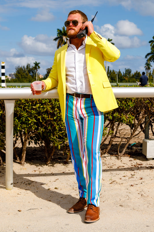yellow summer suit blazer and striped pants for men