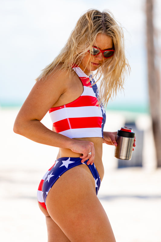 Two piece swimsuit for women USA theme
