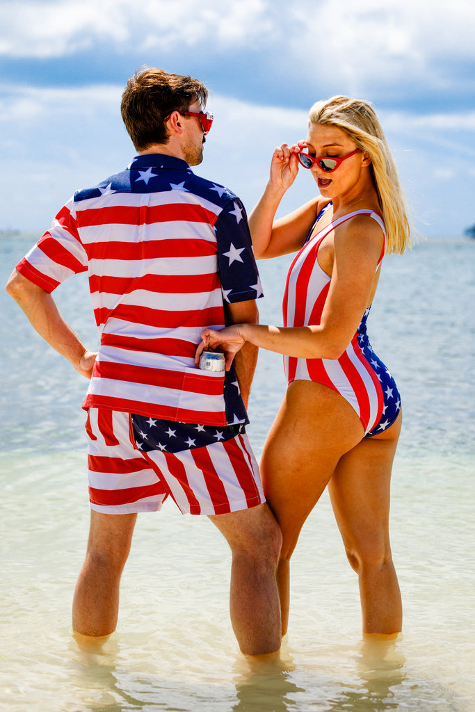 The Reagans | American Flag Swim Trunk & One Piece Pack