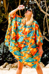 Orange Floral Party Poncho Fanny Pack