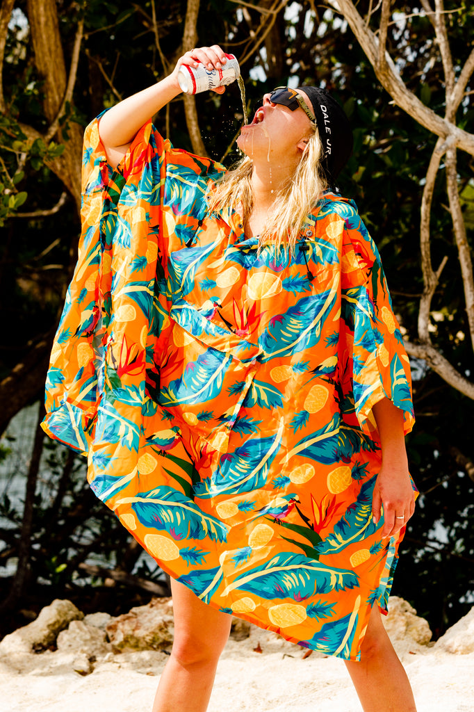 The Cruise Ship Casanova | Womens Hawaiian Print Fanny Pack Rain Jacket