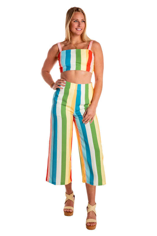 The Stripe Me Down | Rainbow Striped Culotte Pants