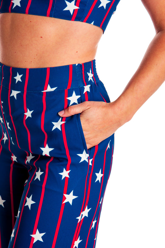 red white and blue pants for women