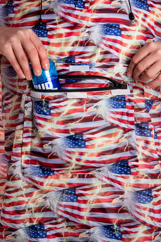 USA fanny pack poncho