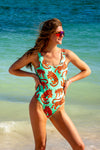Women's tropical tiger print one piece swimsuit