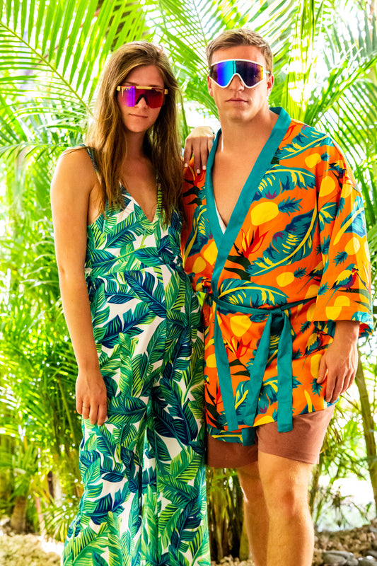 Green palm print jumpsuit for women